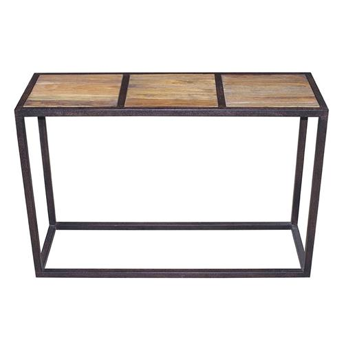 Rustic Iron Console Table ~ Lisbeth urban rustic reclaimed elm iron console table