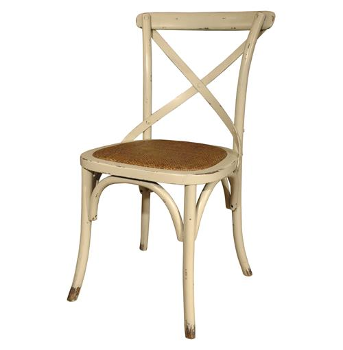 Pair Kasson Classic Parisians Antique White Caned Rattan Seat Cafe Chair | Kathy Kuo Home