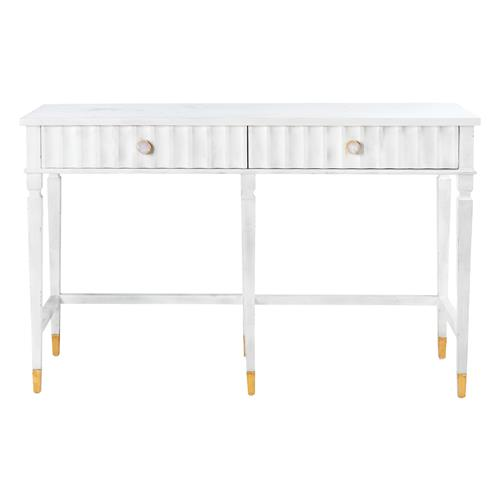 Catriona French Country White with Gold Accent 2 Drawer Console Table - Medium | Kathy Kuo Home