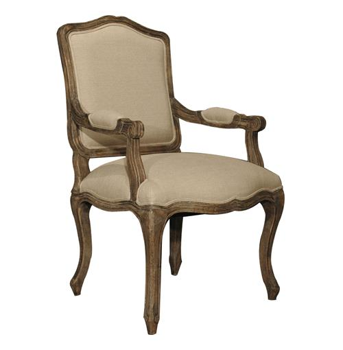 Pair French Country Linen Toile Back Ecru Oak Dining Arm Chair | Kathy Kuo Home