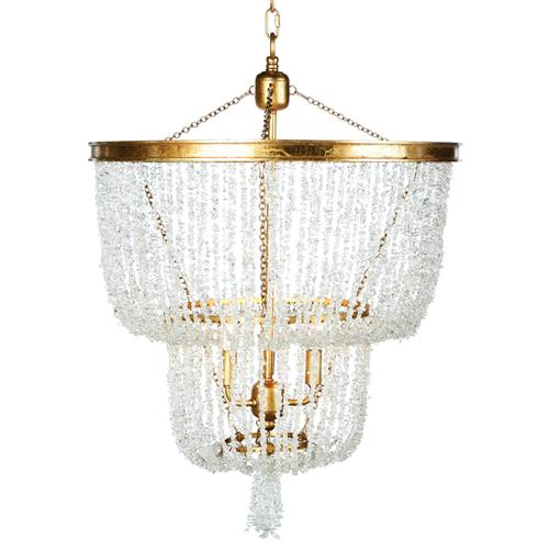 Ellaine Coastal Beach Crystal Tassel and Gold Leaf 2 Tier Chandelier | Kathy Kuo Home