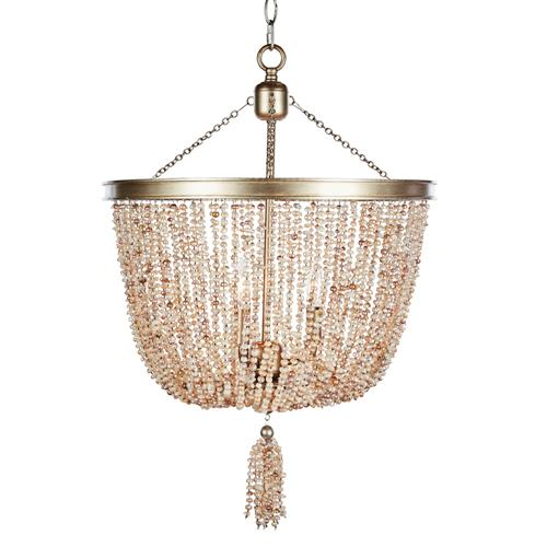 Jamie Coastal Beach 3 Light Pink Freshwater Pearls Chandelier | Kathy Kuo Home