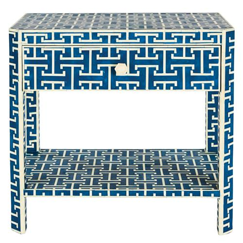 Jesse Global 1 Drawer Blue and Ivory Bone Rectangular Side Table | Kathy Kuo Home