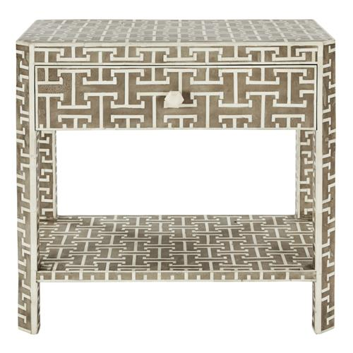 Jesse Global 1 Drawer Grey and Ivory Bone Rectangular Side Table | Kathy Kuo Home