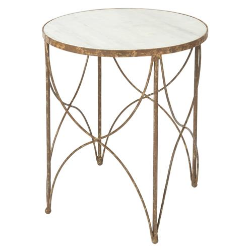 Sean Mid-Century Round White Marble Top with Rustic Gold Frame Side Table | Kathy Kuo Home