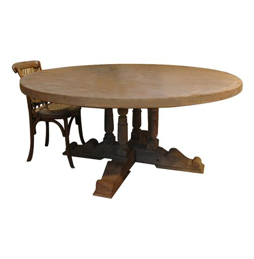 "Halo French Country Large 75"" Round Balustrade Dining Table 
