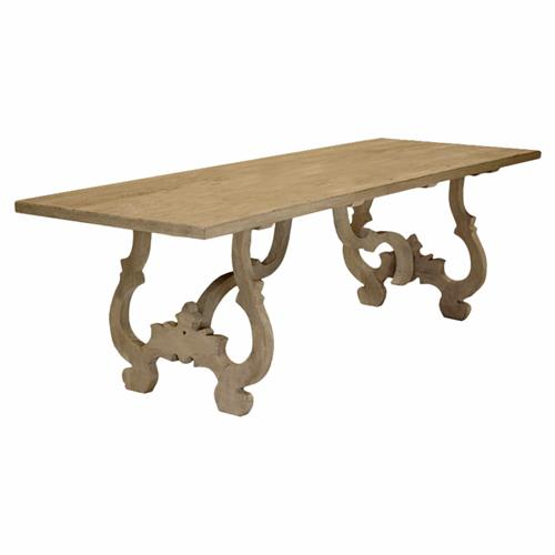 Burgundy French Country Reclaimed Pine Rectangular Dining Table | Kathy Kuo Home