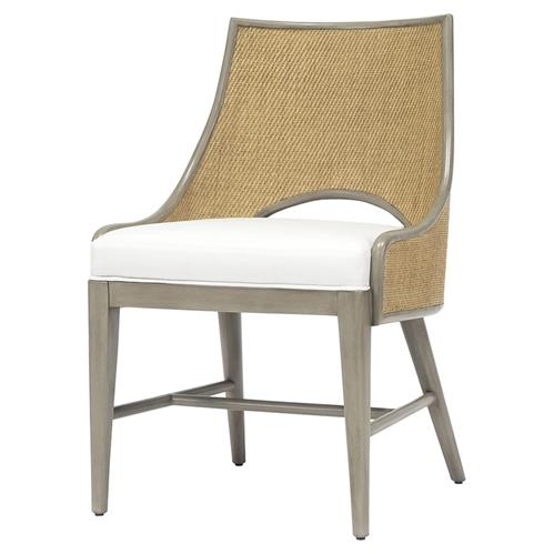 Palecek Avalon Coastal Beach Pole Rattan Grey Hardwood Side Chair | Kathy Kuo Home