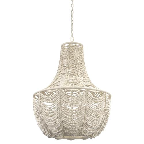 Palecek Cabrillo Coastal Beach White Coconut Shell Beaded Chandelier | Kathy Kuo Home