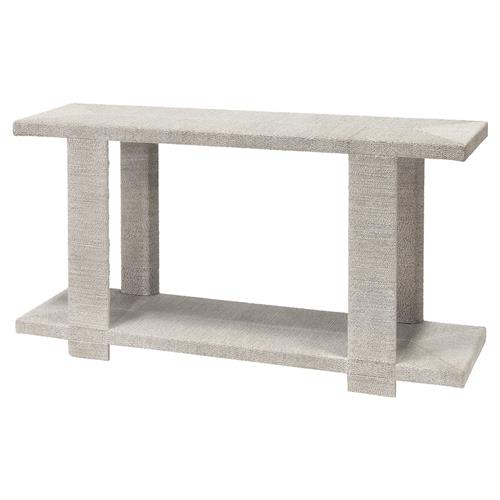 Palecek Clint Coastal Beach Woven Abaca Rope Hardwood Console Table - White | Kathy Kuo Home