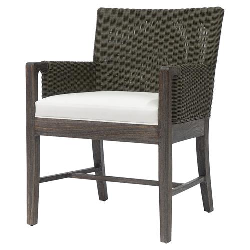 Palecek Connor Coastal Beach White Cushion Brown Wicker Arm Chair | Kathy Kuo Home