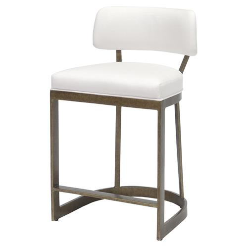 Palecek Conrad Modern White Upholstered Antique Gold Metal Counter Stool | Kathy Kuo Home