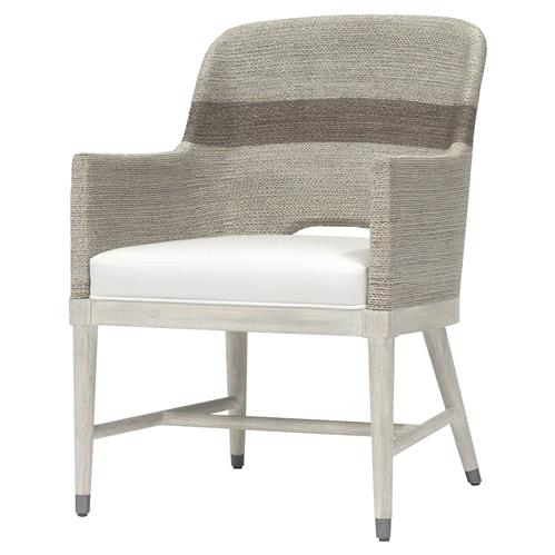 Palecek Fritz Coastal Beach White Lampakanai Rope Hardwood Arm Chair | Kathy Kuo Home