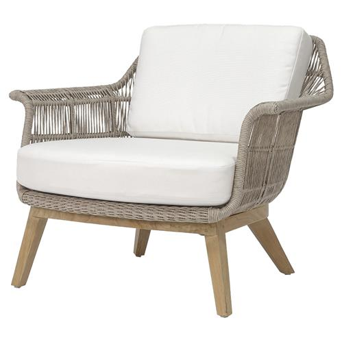 Palecek Loretta Coastal Beach Grey Woven Teak Wood Cushion Outdoor Lounge Chair | Kathy Kuo Home