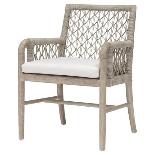 Palecek Montecito Coastal Beach Abaca Grey Woven Teak Wood Cushion Outdoor Arm Chair | Kathy Kuo Home