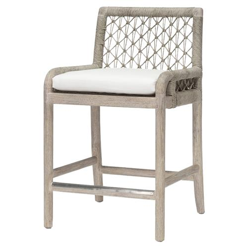 Palecek Montecito Coastal Beach Abaca Grey Woven Teak Wood Cushion Outdoor Counter Stool | Kathy Kuo Home