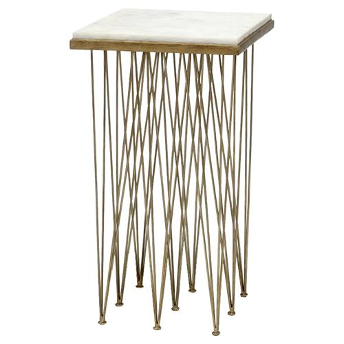 Palecek Naxos Modern White Marble Antique Gold Wrought Iron Square Side End Table | Kathy Kuo Home