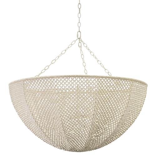 Palecek Quinn Coastal Beach White Wood Coco Beaded Inverted Dome Chandelier | Kathy Kuo Home