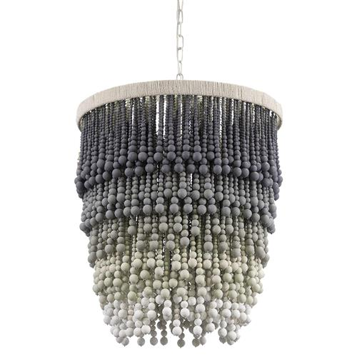 Palecek Solano Coastal Beach Grey Ombre Wood Beaded Pendant | Kathy Kuo Home