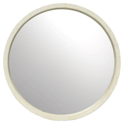 Palecek Tribecca Faux Shagreen White Wash Hardwood Round Wall Mirror | Kathy Kuo Home