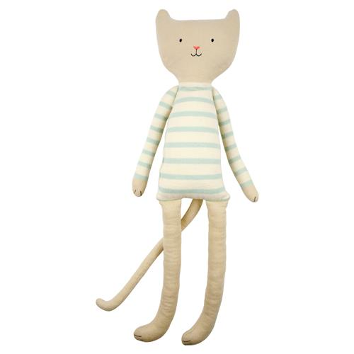Meri Meri Chester Modern Blue Striped Knitted Cotton Cat Toy | Kathy Kuo Home