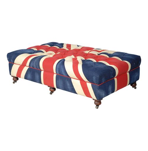 Bensington Large Union Jack Coffee Table Ottoman | Kathy Kuo Home