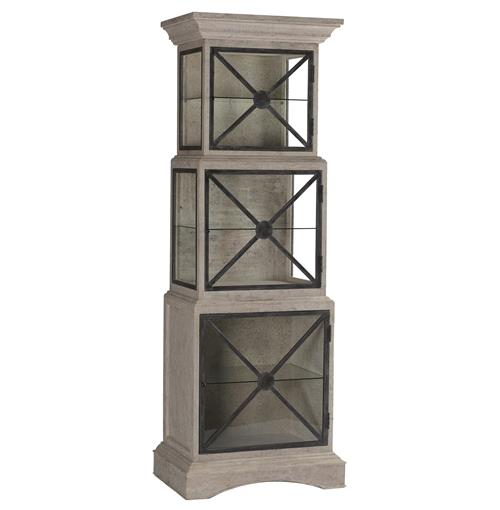 Vanessa French Country Antique Gray Stacking Glass Cabinet | Kathy Kuo Home