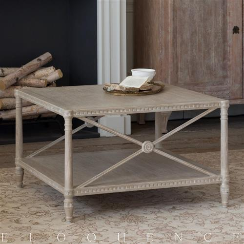 Eloquence French Country Style Tresor Rustic Wood Square Coffee Table | Kathy Kuo Home