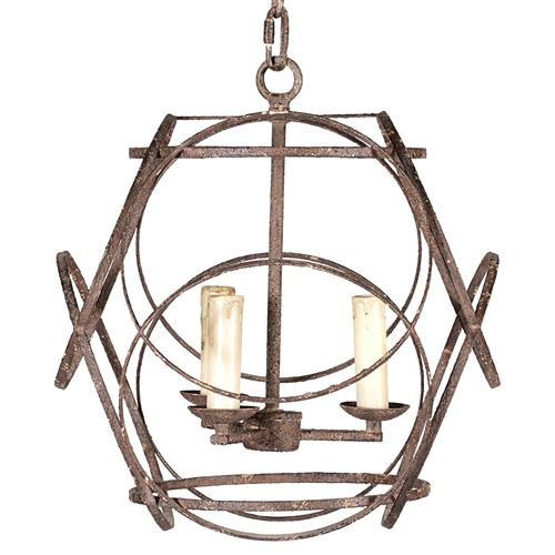 Ellis Geometric Rustic Black Iron 3 Light Chandelier | Kathy Kuo Home