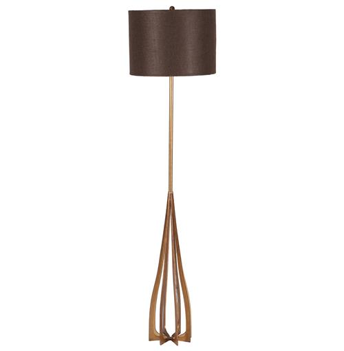Monica Antique Gold Contemporary Iron Floor Lamp | Kathy Kuo Home