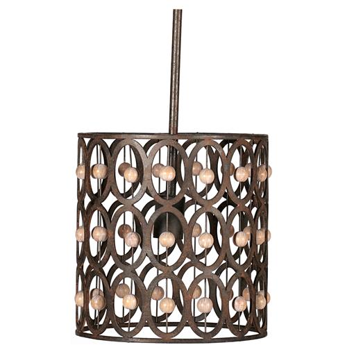 Robert Art Deco Wood Beads Rustic Iron 1 Light Pendant | Kathy Kuo Home