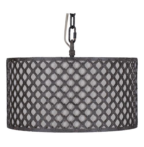 Venice Industrial Loft Rustic Black Lattice Neutral Linen Pendant | Kathy Kuo Home