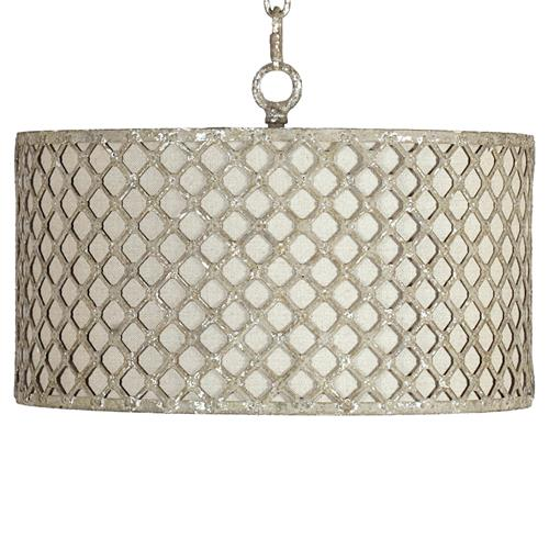 Venice Industrial Loft Antique Silver Lattice Neutral Linen Pendant | Kathy Kuo Home