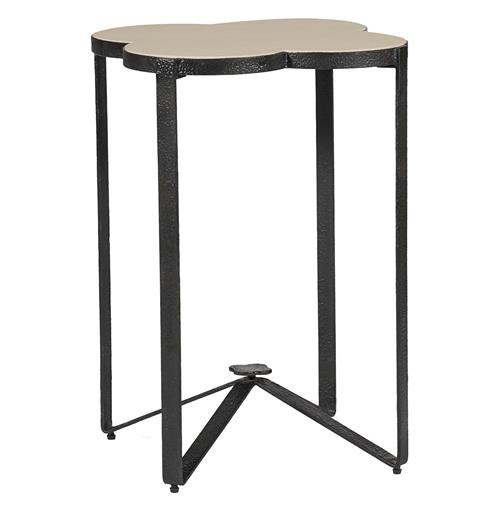 Cynthia Modern Classic Quatrefoil Limestone Iron Accent End Table | Kathy Kuo Home