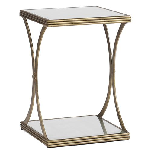 Felicia Antique Gold Iron Eglomise Square Side Table | Kathy Kuo Home
