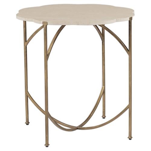 Faith Modern Floral Limestone Gold End Table | Kathy Kuo Home