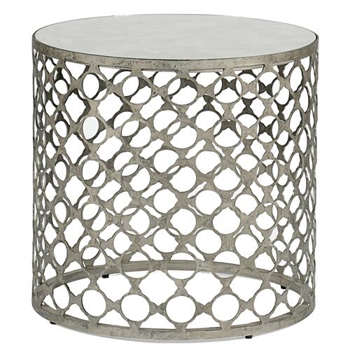 Taylor Antique Mirrored Top Geometric Industrial Side End Table | Kathy Kuo Home