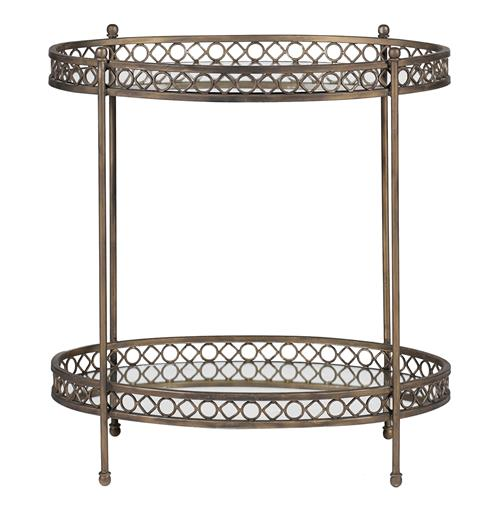 Kendall Oval Two Tier Antique Mirror Serving Side Table | Kathy Kuo Home