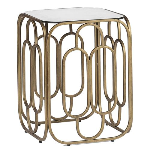 Foster Mid Century Modern Deco Geometric Square End Table | Kathy Kuo Home