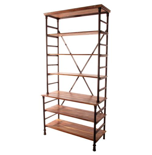 Pipe Works Reclaimed Wood Industrial Pipe Tall Bookcase | Kathy Kuo Home