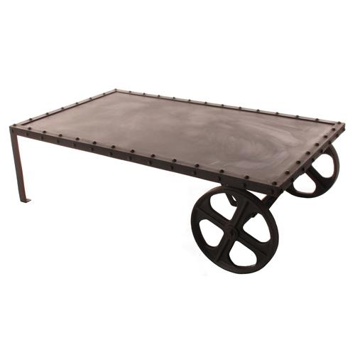 Vintage Industrial Iron Transfer Cart Coffee Table | Kathy Kuo Home