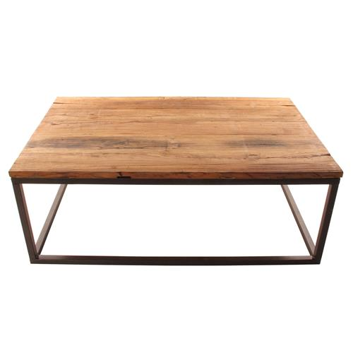 Solid Chunky Reclaimed Elm Wood Large Coffee Table | Kathy Kuo Home