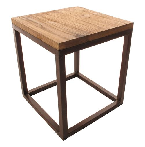 Solid Chunky Reclaimed Elm Wood Large Side End Table | Kathy Kuo Home