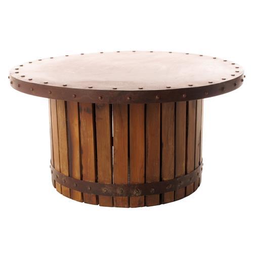 Sonoma Vintage Copper Iron Wood Barrel Round Coffee Table Ebay