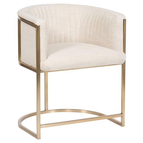 Vanguard Skye Ivory Upholstered Brass Dining Chair | Kathy Kuo Home