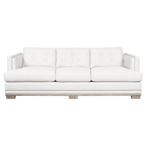 Michael Weiss Aldrich White Tufted Nailhead Trim 3 Seater Sofa | Kathy Kuo Home