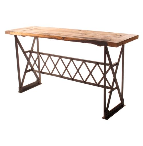 Riveter's Industrial Modern Chunky Wood Console Table | Kathy Kuo Home