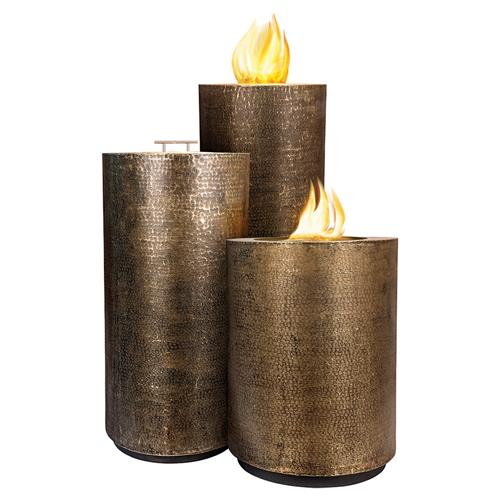 Emy Modern Classic Aged Bullion Hammered Pedestal Outdoor Fire Pit - Set of 3 | Kathy Kuo Home
