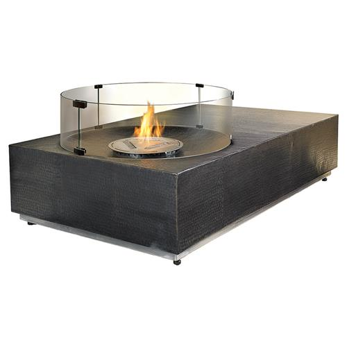 Emy Modern Classic Hammered Rectangular Outdoor Fire Pit - Nubian | Kathy Kuo Home