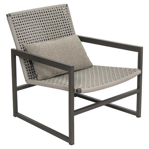 Tim Modern Classic Grey Woven Metal Outdoor Lounge Chair - Set of 2